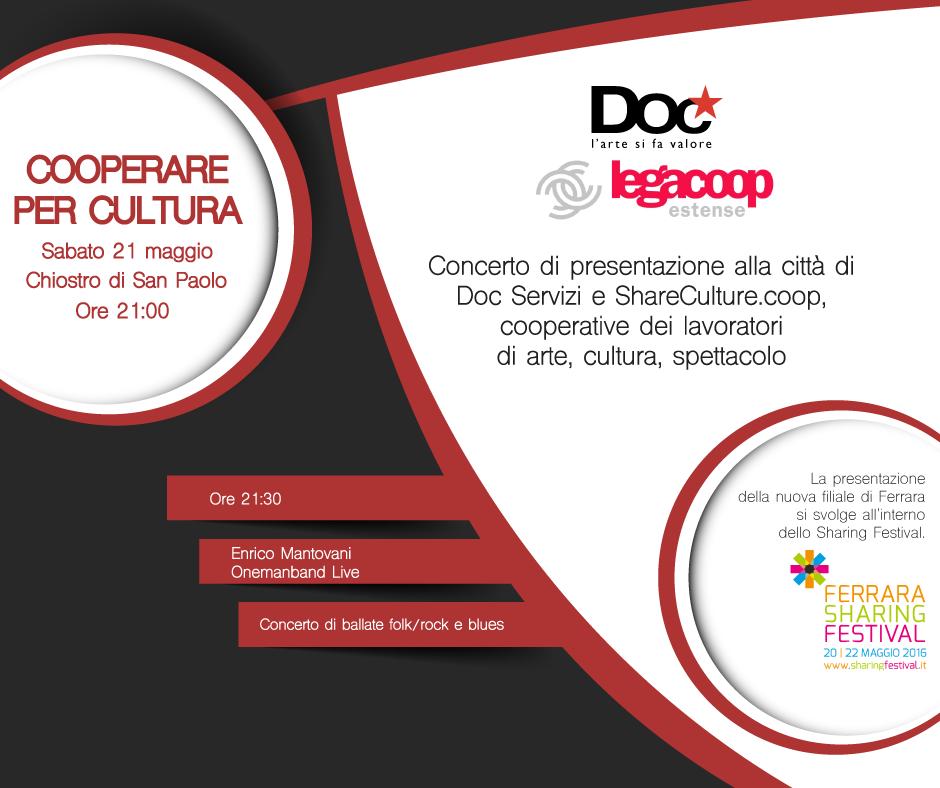 Doc Servizi arriva a Ferrara e presenta la nuova filiale con un concerto durante lo Sharing Festival
