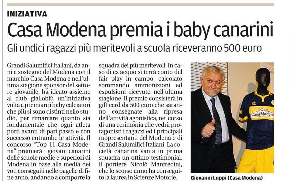 Concorso TOP 11 CASA MODENA: Grandi Salumifici Italiani premia l'impegno sui banchi di scuola…e in campo