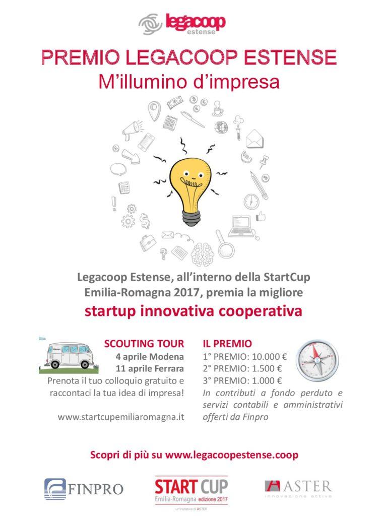 Legacoop Estense premia imprenditorialità e innovazione. Diecimila euro alla migliore startup innovativa cooperativa che si candiderà alla StartCup Emilia – Romagna