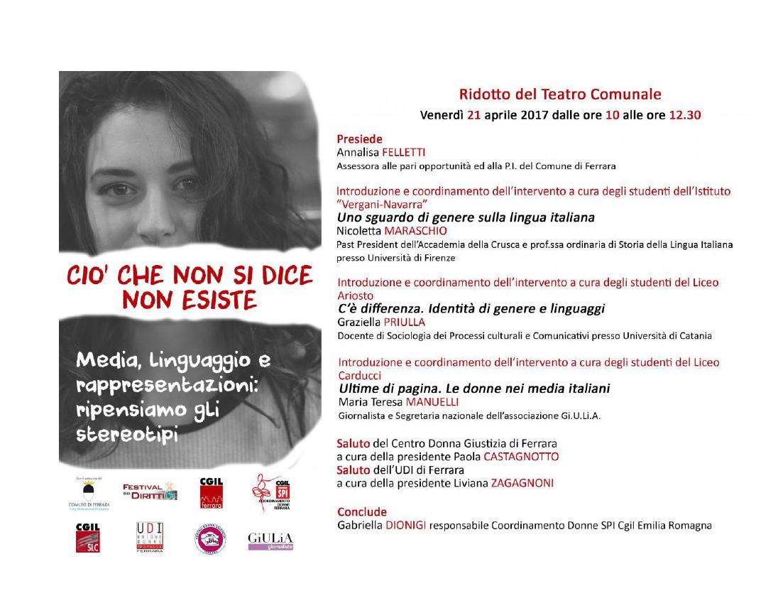"""""""Ciò che non si dice non esiste. Media, linguaggio e rappresentazioni: ripensiamo gli stereotipi"""", venerdì 21 aprile a Ferrara"""