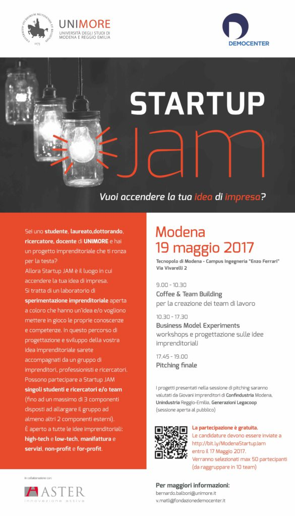 Startup Jam accende le idee di impresa, il 19 maggio a Modena, con il contributo di Generazioni Legacoop