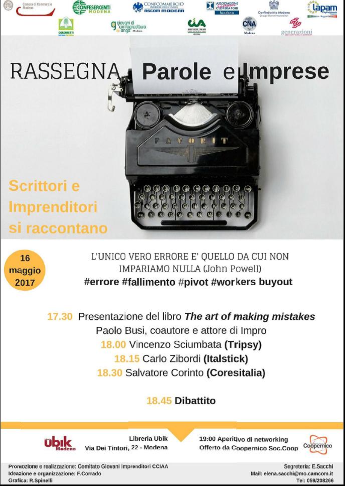 """Comitato Giovani Imprenditori Modenesi: al via la """"Rassegna Parole e Imprese – Scrittori e Imprenditori si raccontano"""""""