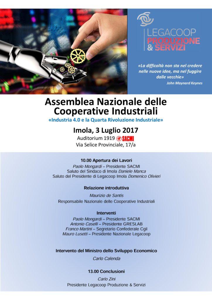 Il 3 luglio l'Assemblea Nazionale delle Cooperative Industriali e Manifatturiere, su Industria 4.0 e Quarta Rivoluzione Industriale