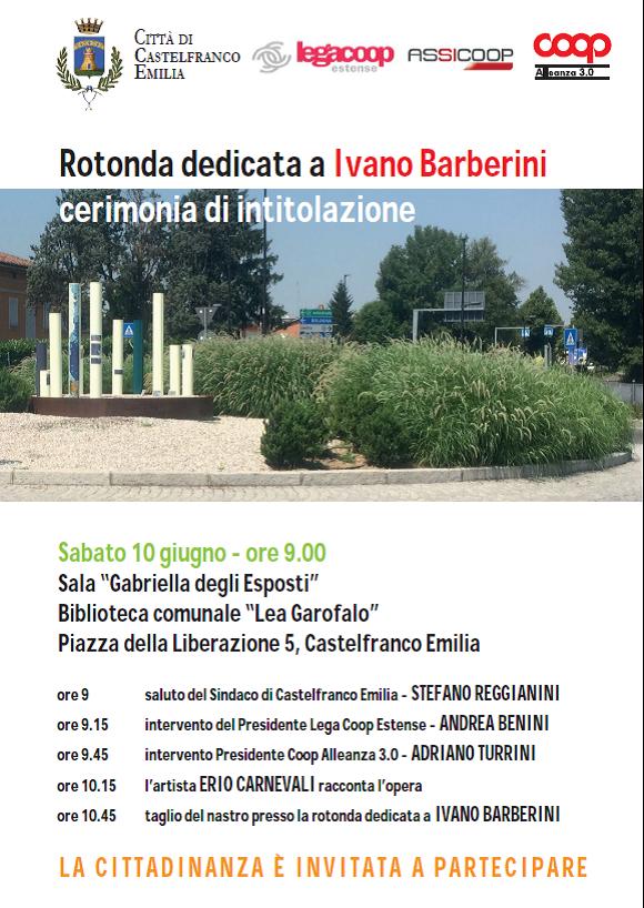 Rotonda dedicata a Ivano Barberini: sabato 10 giugno la cerimonia di intitolazione