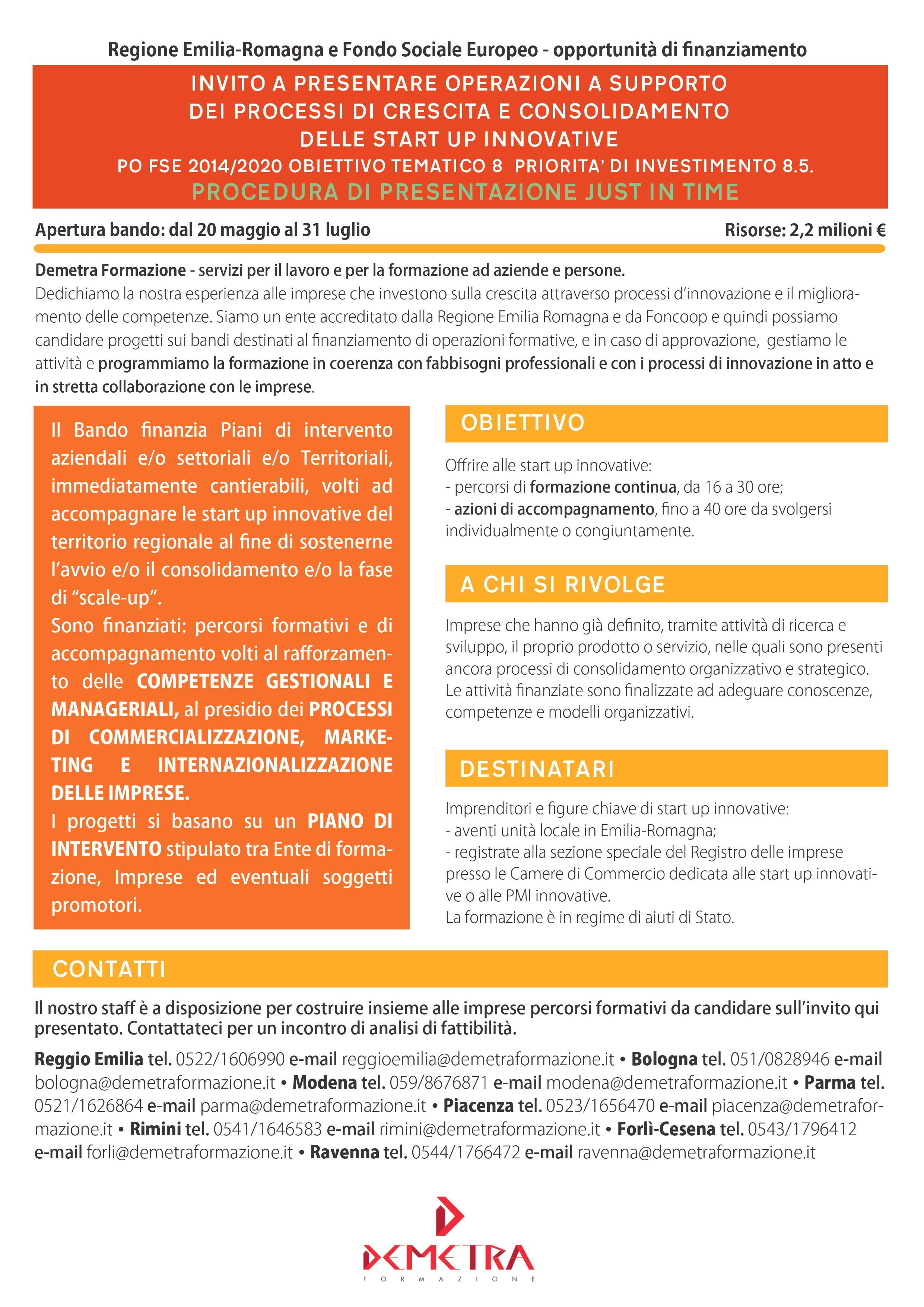 Startup innovative: nuove opportunità di finanziamento dalla Regione Emilia-Romagna per progetti formativi
