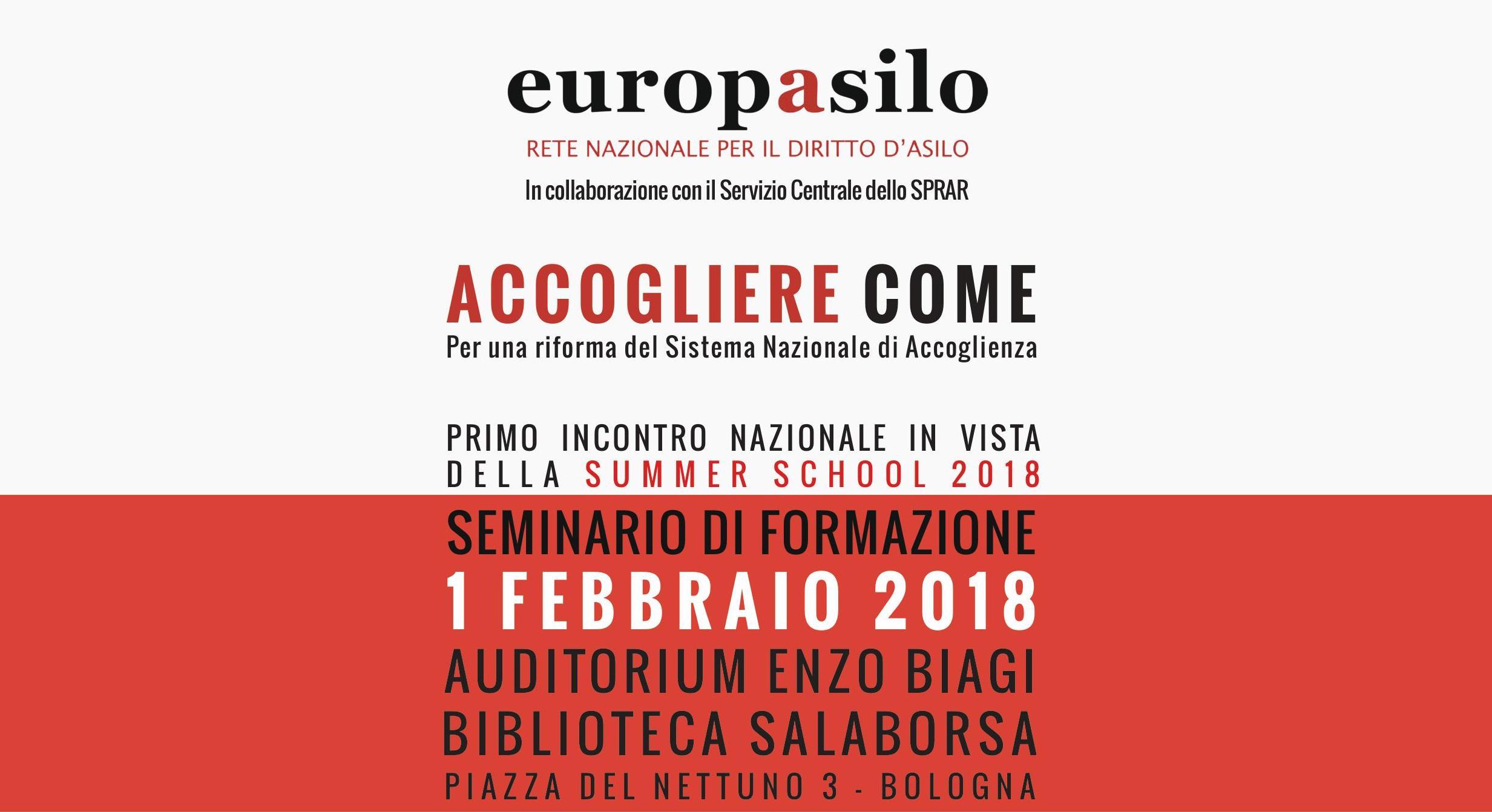 Accogliere come. Per una riforma del Sistema Nazionale di Accoglienza. L'1 febbraio a Bologna una giornata di formazione per addetti al settore