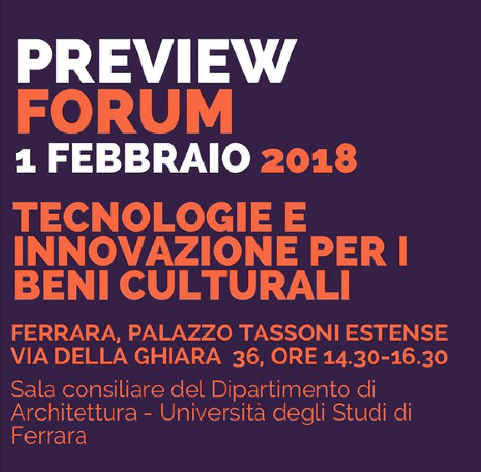 Tecnologie e innovazione per i beni culturali: giovedì 1 febbraio un incontro a Ferrara, nell'ambito delle attività dei ClustER