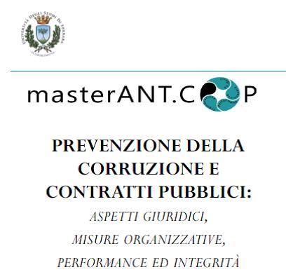 Master ANT.COP Prevenzione della corruzione e contratti pubblici: 2 borse di studio da 2.000 € dal CNS