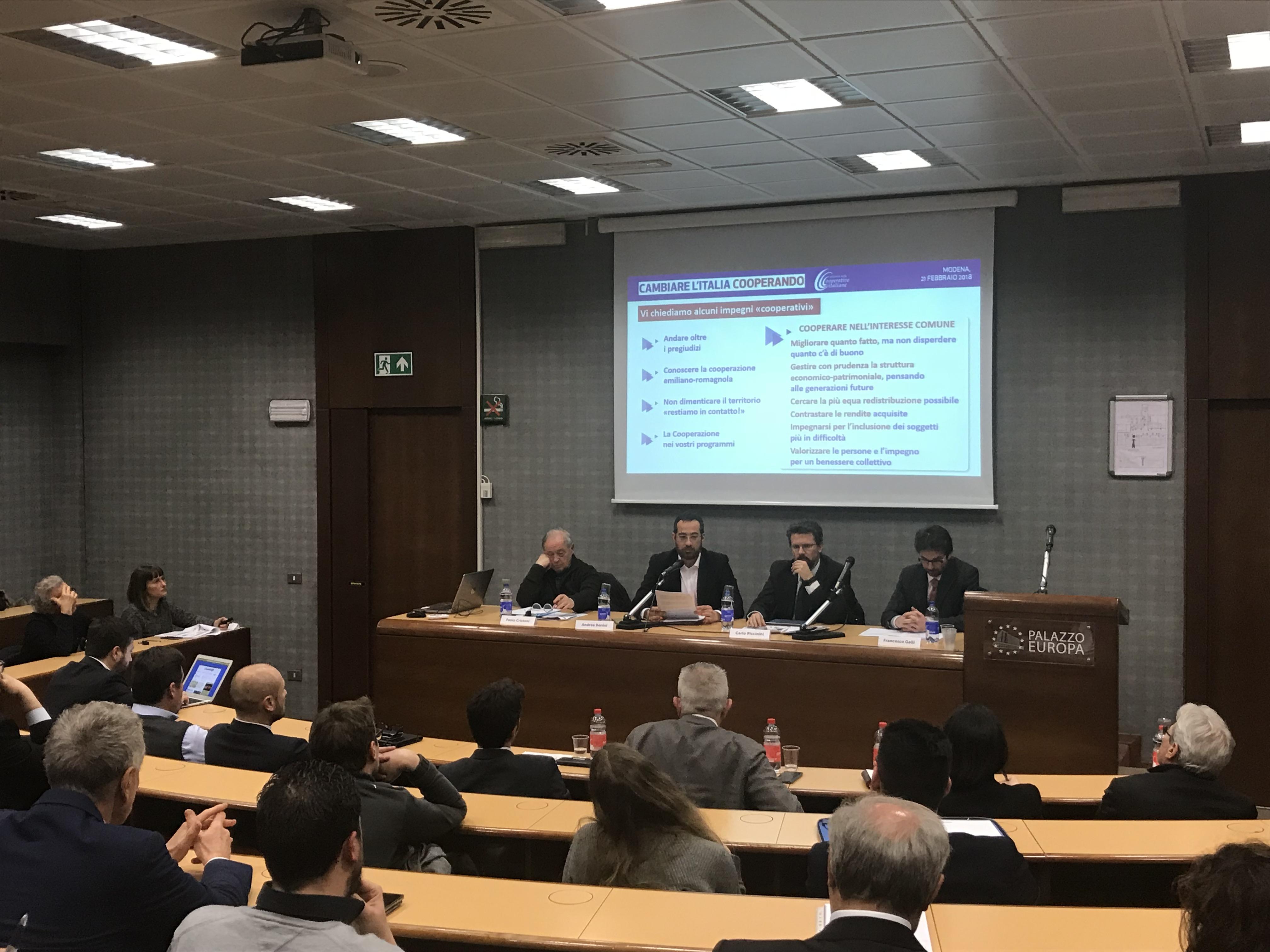 """L'Alleanza delle Cooperative Italiane – coordinamento di Modena ha presentato  alla Comunità e ai candidati alle prossime elezioni politiche il Manifesto  """"CAMBIARE L'ITALIA COOPERANDO"""""""