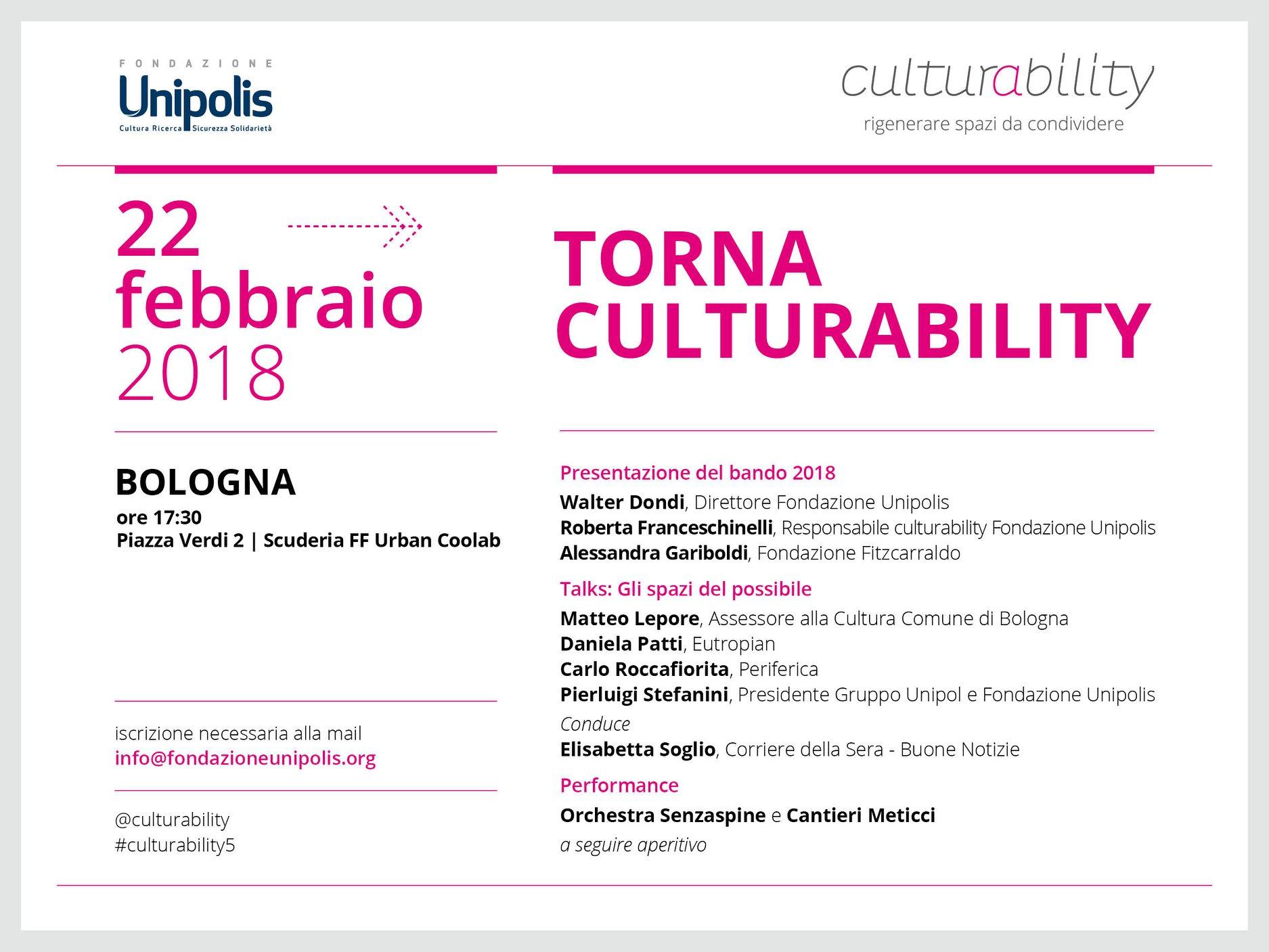 Torna Culturability: il 22 febbraio a Bologna la presentazione della quinta edizione del bando di Fondazione Unipolis per progetti di rigenerazione culturale