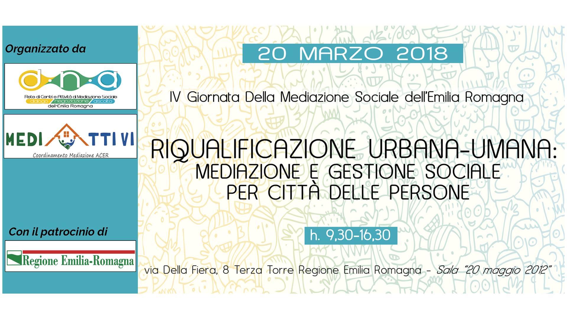 """""""Riqualificazione urbana-umana"""": il 20 marzo a Bologna un seminario in occasione della Giornata Regionale della Mediazione Sociale, a cura della Rete D.N.A. e di Mediattivi"""
