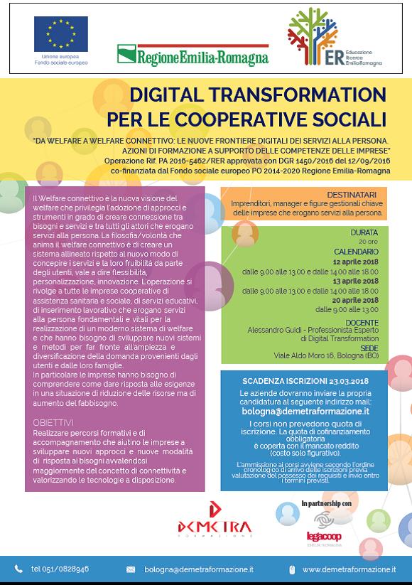 Digital transformation per le cooperative sociali: dal 12 aprile un corso promosso da Demetra e Legacoop Emilia Romagna. Iscrizioni entro il 23 marzo