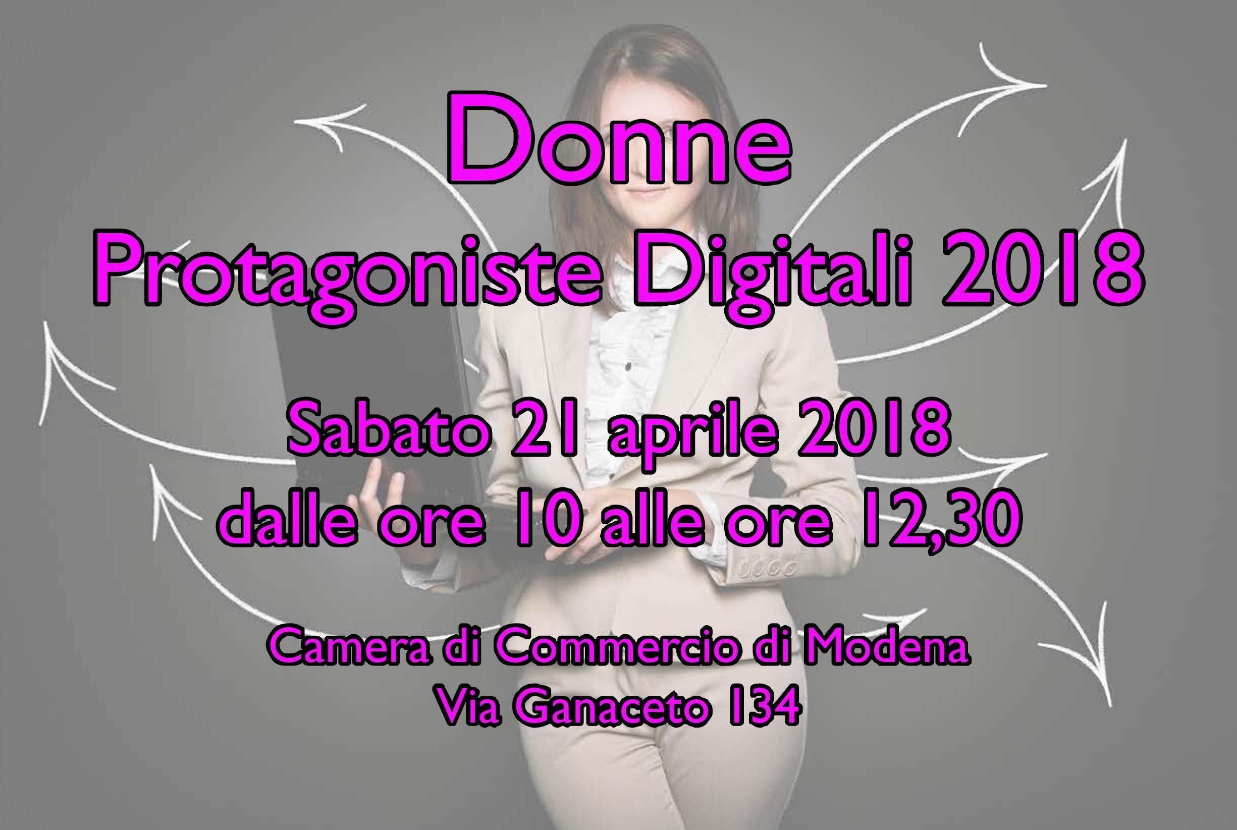 Donne Protagoniste Digitali 2018: il 21 aprile un'iniziativa alla Camera di Commercio di Modena