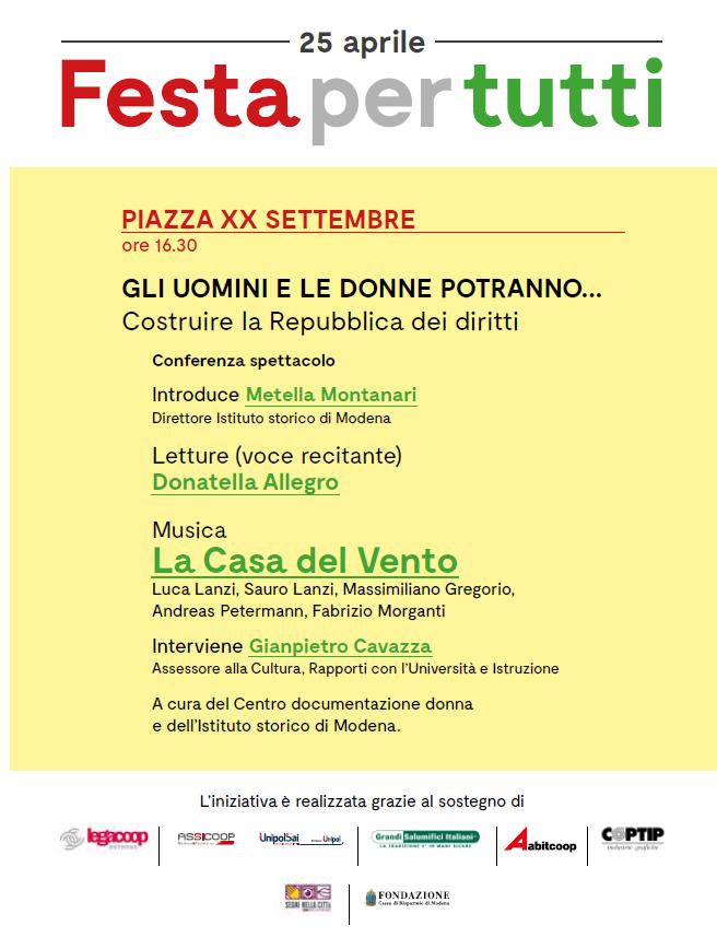 Liberazione 2018: in Piazza XX settembre la Festa per tutti, con il sostegno di Legacoop Estense