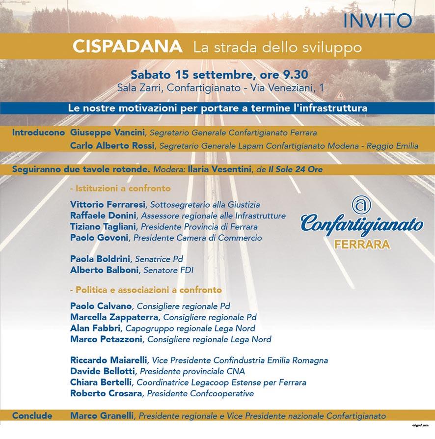 """Cispadana: il 15 settembre a Ferrara una tavola rotonda sulla """"strada dello sviluppo"""""""