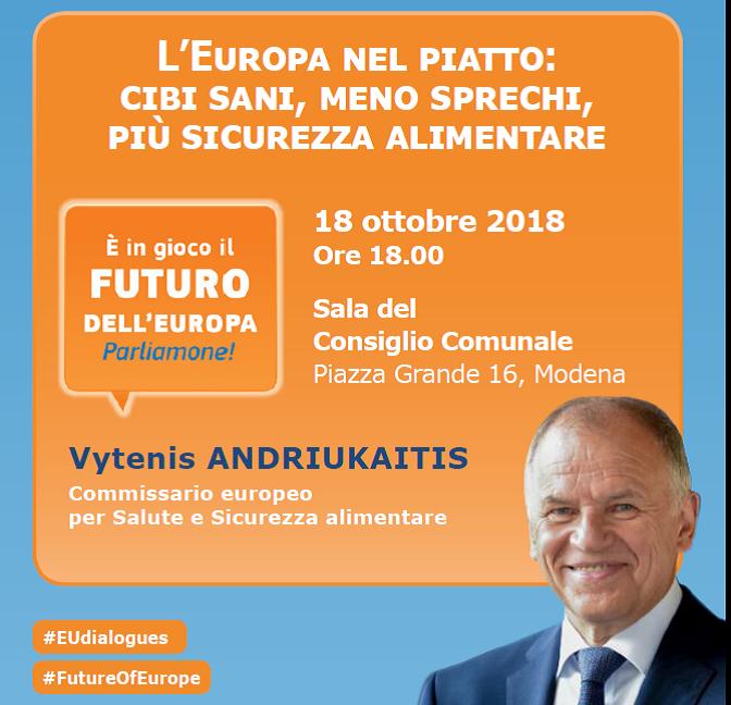 A Modena il Commissario UE sulla sicurezza alimentare