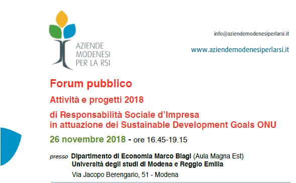 Aziende Modenesi per la RSI: Forum pubblico finale di presentazione Attività e Progetti 2018