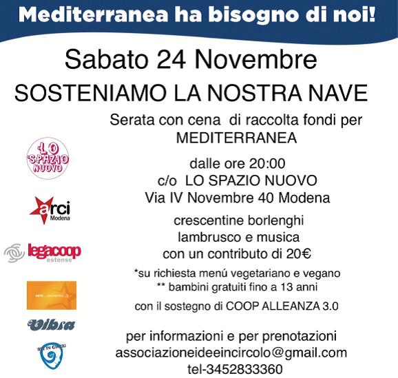"""""""Sosteniamo la nostra nave"""": sabato 24 novembre serata con cena di raccolta fondi per Mediterranea"""