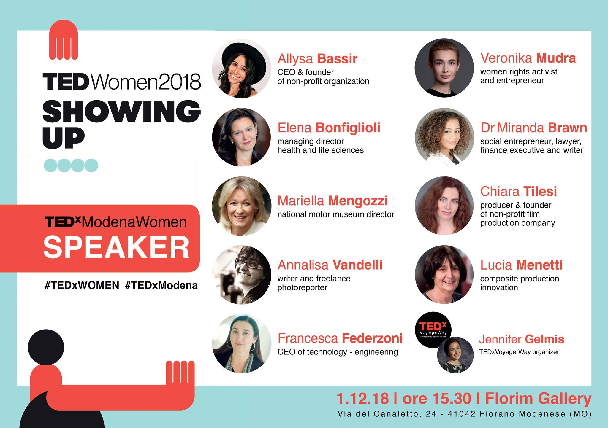 TEDxModenaWomen: Showing Up,sabato 1 dicembre ore 15.30. Fra le speaker l'Ing. Francesca Federzoni