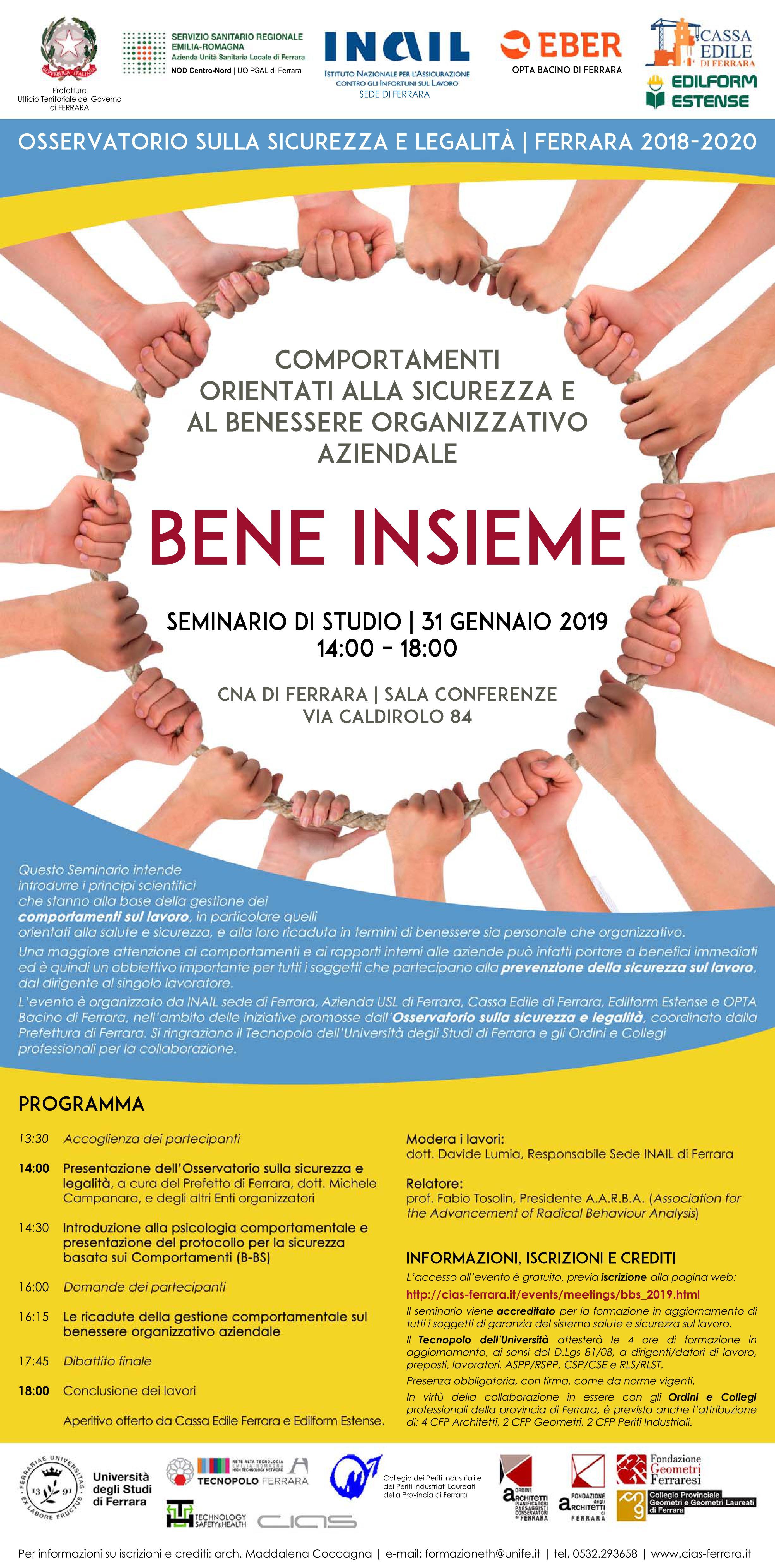 Bene Insieme Il 31 Gennaio Un Seminario Su Sicurezza E Benessere Organizzativo Promosso A Ferrara Dall Osservatorio Sulla Sicurezza Legacoop Estense