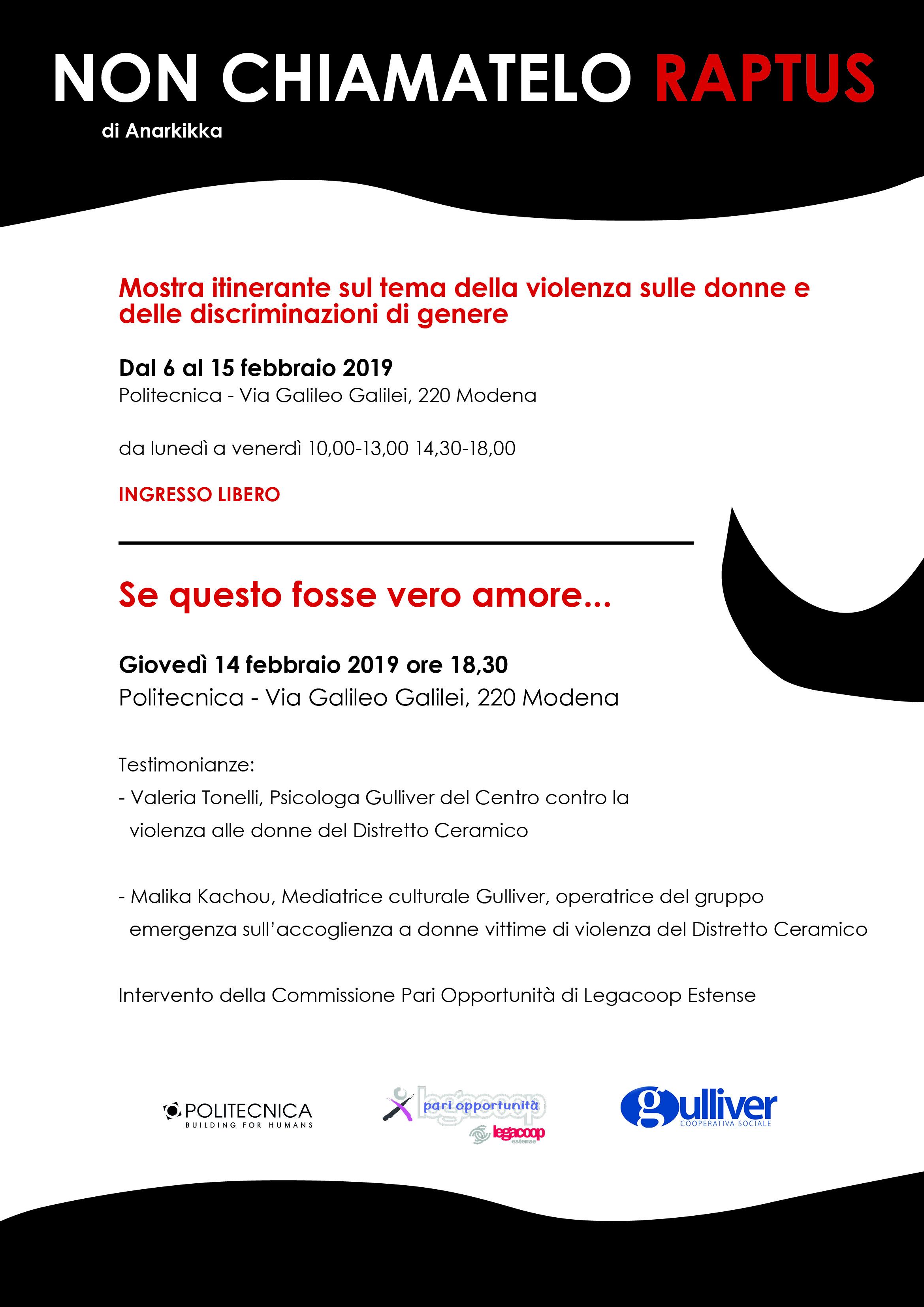 Non chiamatelo RAPTUS: Gulliver e Politecnica ospitano la mostra di Anarkikka contro la violenza sulle donne, promossa dallaCommissione Pari Opportunità di Legacoop Estense