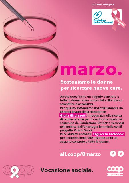 """""""Sosteniamo le donne per ricercare nuove cure"""": Coop Alleanza 3.0 festeggia l'8 marzo con un augurio concreto tutto al femminile: una borsa di ricerca da 33 mila euro per una ricercatrice che studia i tumori ovarici"""