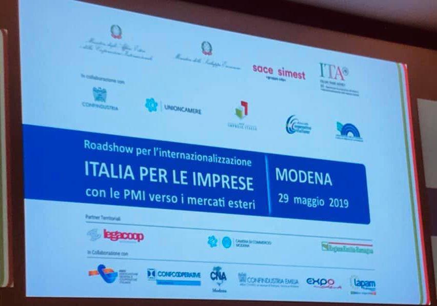 A Modena la terza tappa 2019 del Roadshow per l'internazionalizzazione, Legacoop Estense partner territoriale