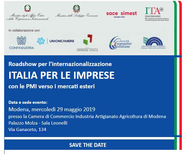 Roadshow per l'internazionalizzazione: Modena 29 maggio, Camera di Commercio