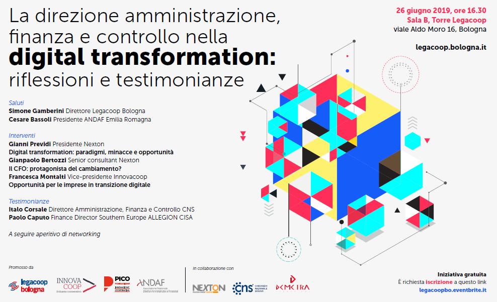 """""""La direzione amministrazione, finanza e controllo nella digital transformation: riflessioni e testimonianze"""", Bologna 26 giugno ore 16.30"""