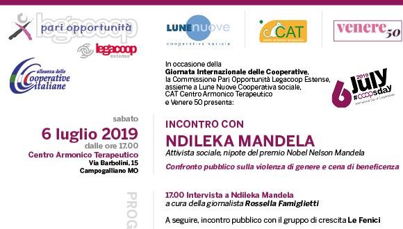 Ndileka Mandela a Modena: gli incontri in occasione della Giornata Internazionale delle Cooperative, il 6-7 luglio