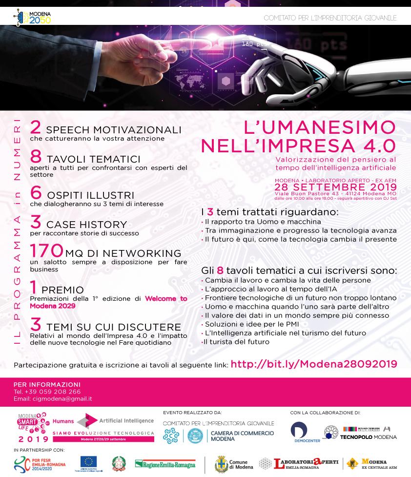 L'umanesimo nell'impresa 4.0. Il 28 settembre l'iniziativa del Comitato per l'Imprenditoria Giovanile di Modena