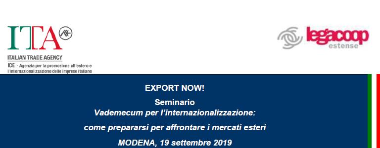 EXPORT NOW! Vademecum per l'internazionalizzazione: come prepararsi per affrontare i mercati esteri