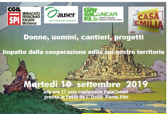 """Spi, Unicapi e Auser Modena presentano: """"Donne, uomini, cantieri, progetti. Impatto della cooperazione edile sul nostro territorio""""."""