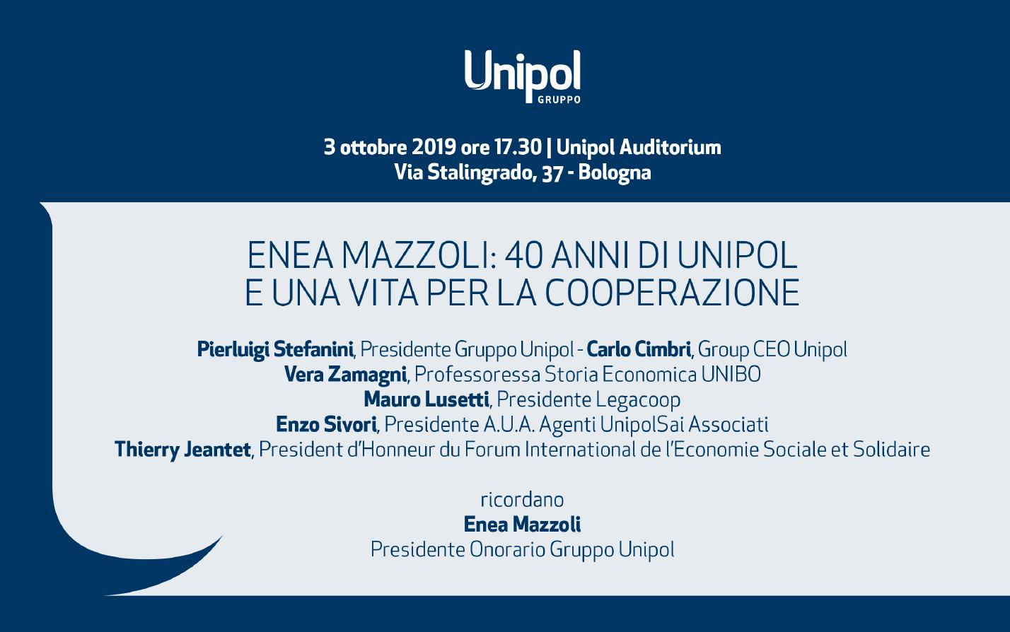 Enea Mazzoli: 40 anni di Unipol e una vita per la Cooperazione