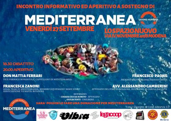 Incontro informativo e aperitivo a sostegno di Mediterranea