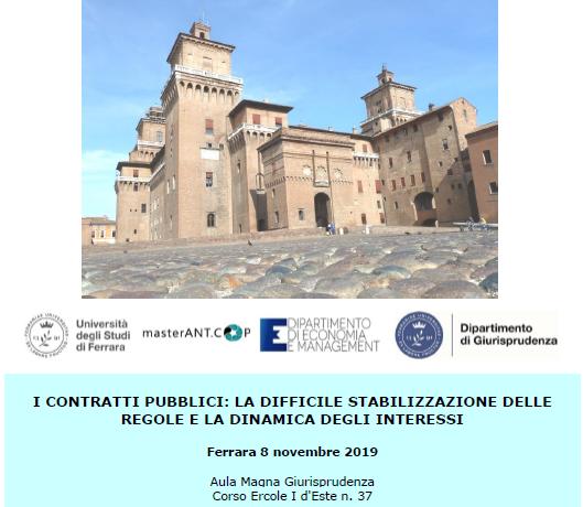 I contratti pubblici: la difficile stabilizzazione delle regole e la dinamica degli interessi. Un convegno a Ferrara l'8 novembre