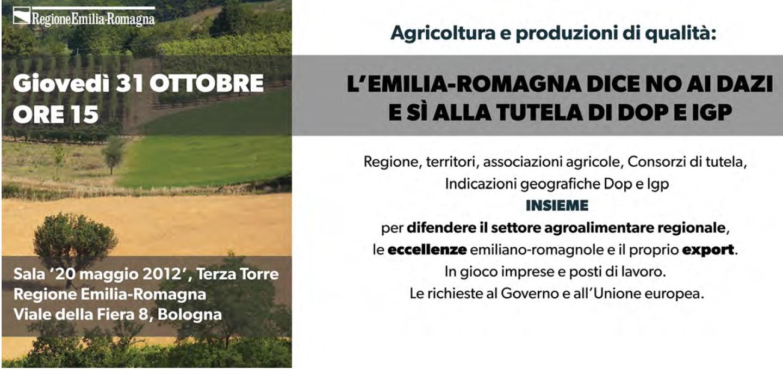 L'Emilia-Romagna dice no ai dazi e sì alla tutela di Dop e Igp: oggi un incontro