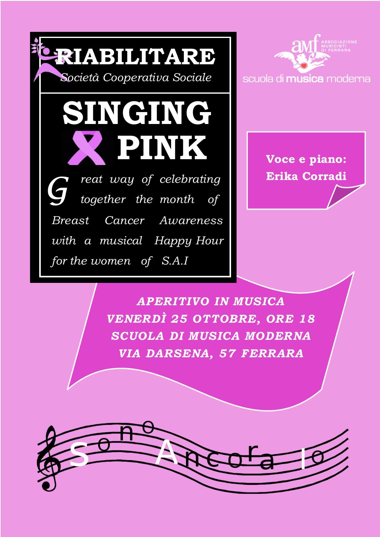 """""""Singing Pink"""": il 25 ottobre aperitivo in musica con la cooperativa Riabilitare, nell'ambito di un progetto per donne operate al seno"""