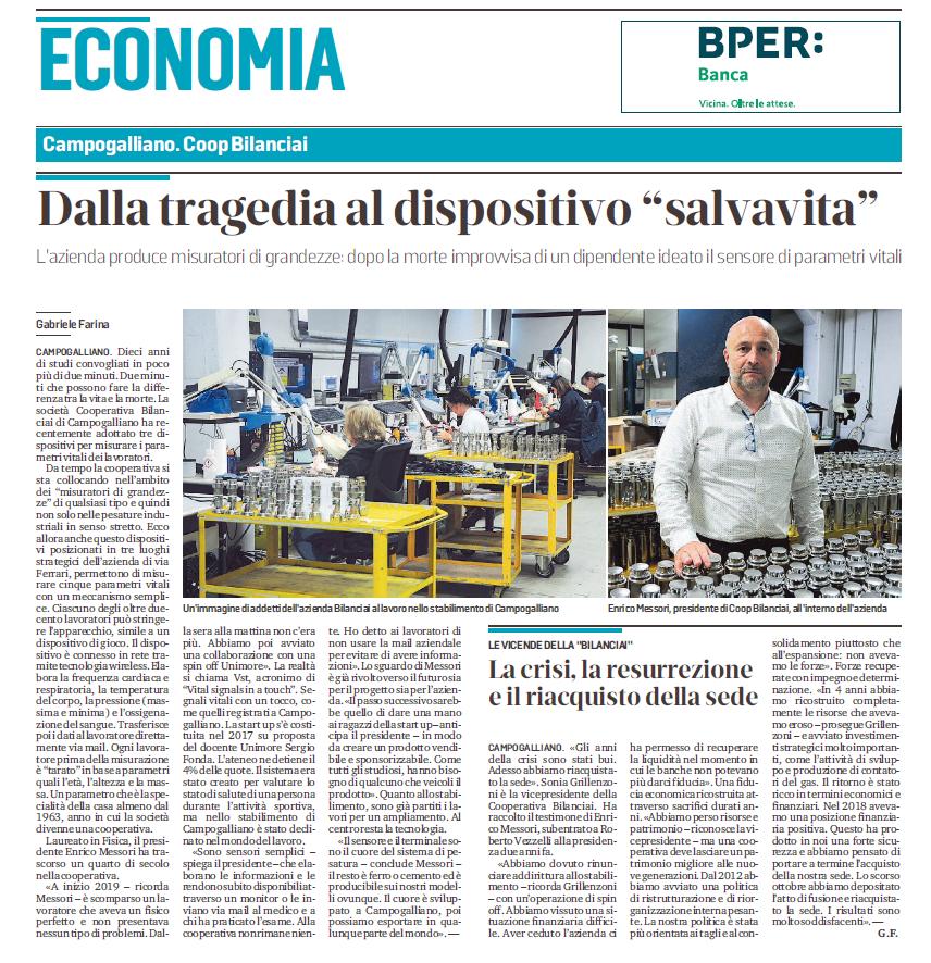 Cooperativa Bilanciai protagonista sulla Gazzetta di Modena