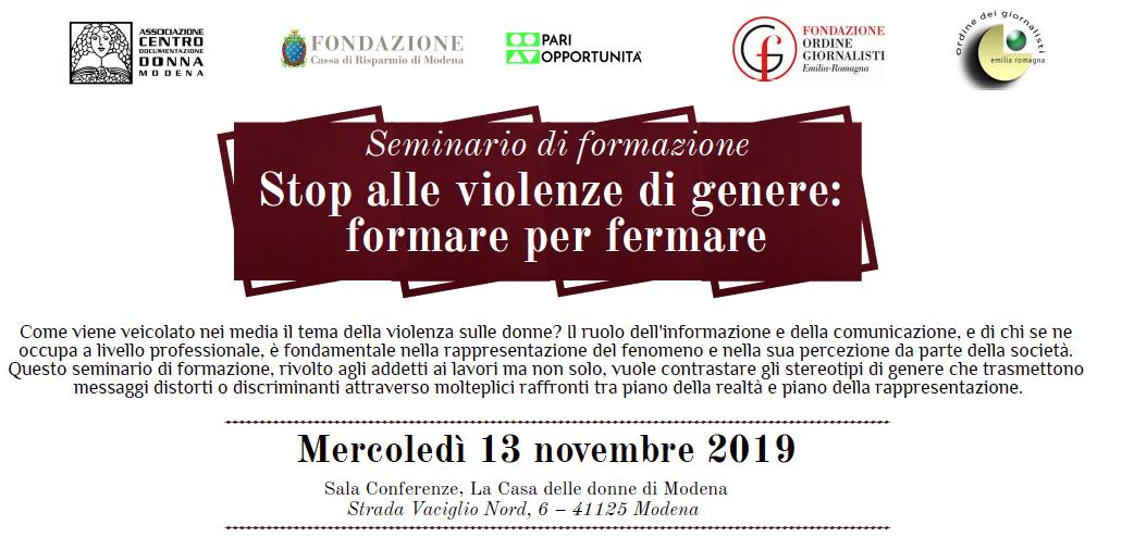 Stop alle violenze di genere: formare per fermare. Il 13 novembre a Modena un seminario con l'Ordine dei Giornalisti