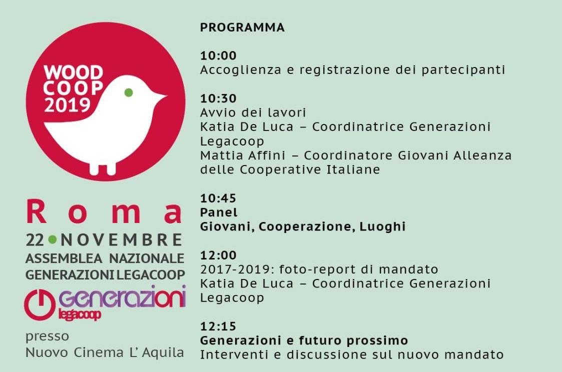 Woodcoop 2019: il 22 novembre a Roma l'Assemblea nazionale di Generazioni