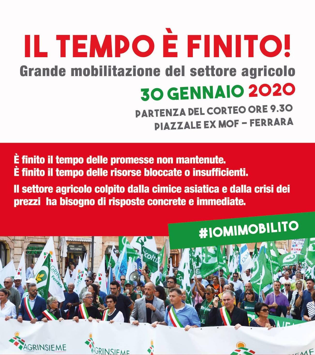 #iomimobilito: il 30 gennaio a Ferrara grande manifestazione di Agrinsieme in difesa del settore agricolo