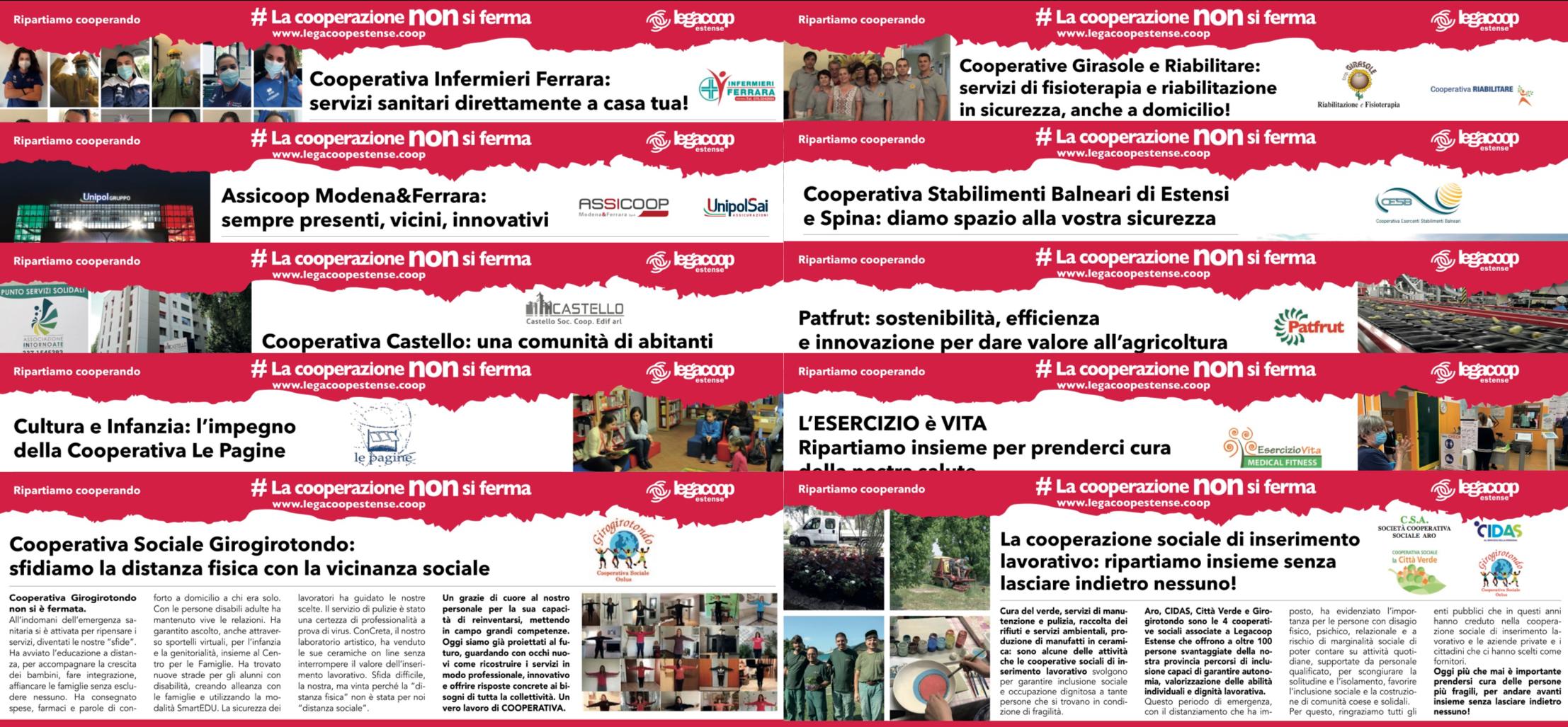 #lacooperazionenonsiferma: ecco tutte le inserzioni pubblicate su La Nuova Ferrara