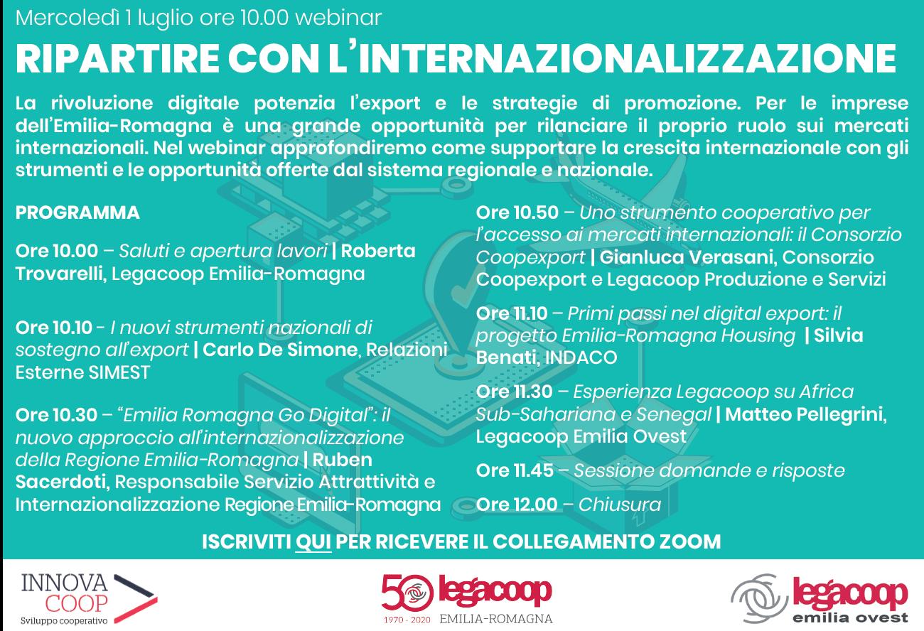 Ripartire con l'internazionalizzazione: webinar mercoledì 1 luglio