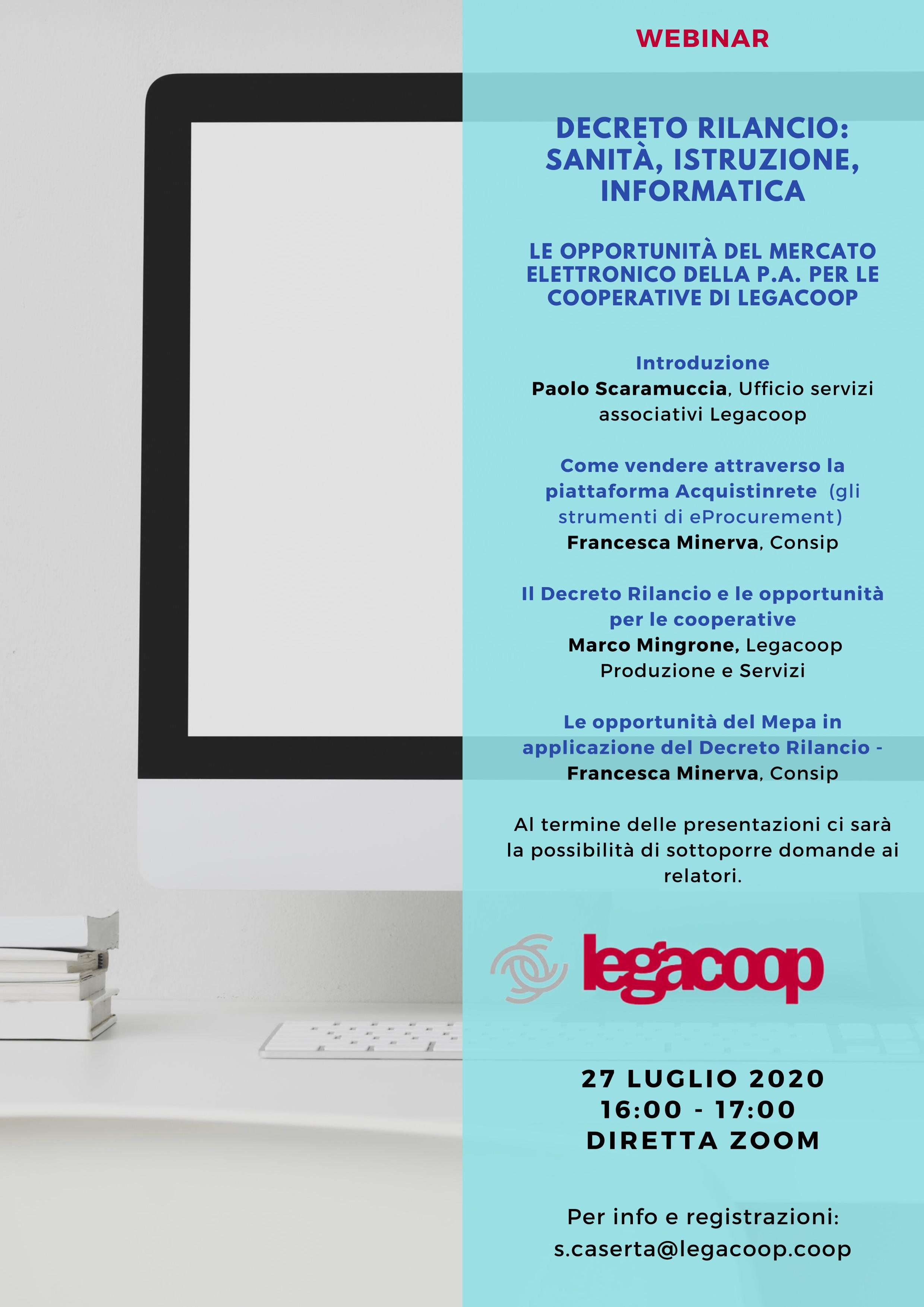 Le opportunità del Mercato Elettronico della P.A. per le cooperative: il 27 luglio un webinar promosso da Legacoop