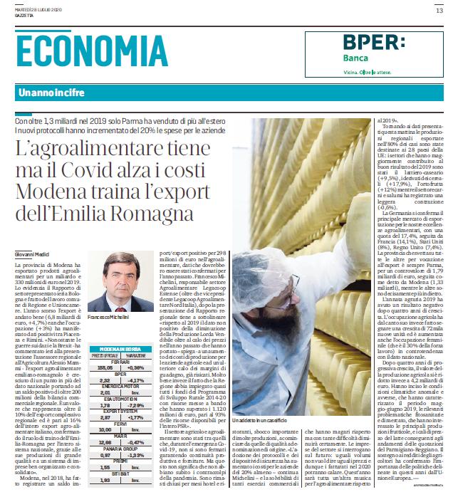 Rapporto 2019 sul Sistema agroalimentaredell'Emilia-Romagna: l'intervista della Gazzetta di Modena a Franco Michelini