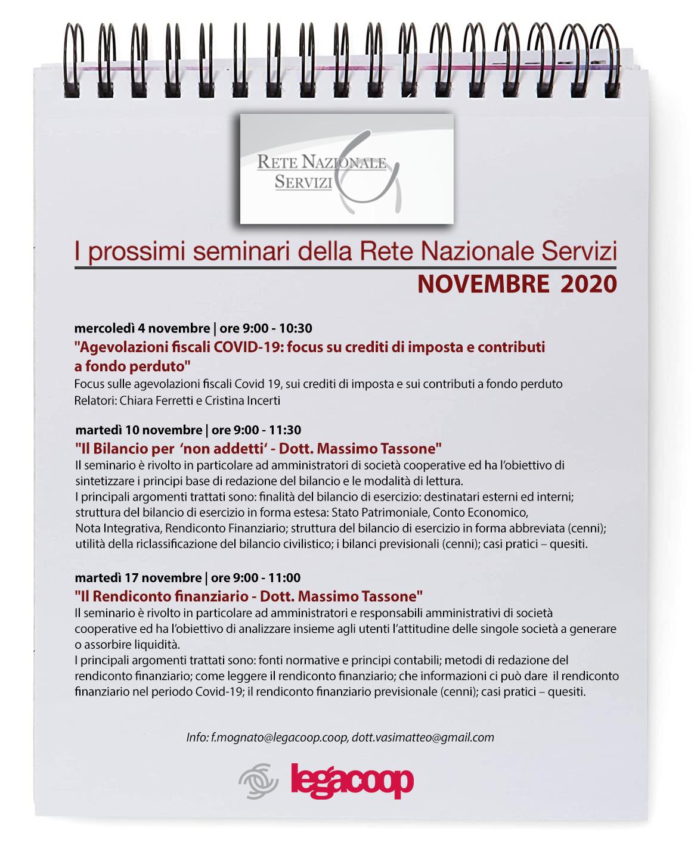 Rete Nazionale Servizi: tutti i webinar di novembre e dicembre 2020