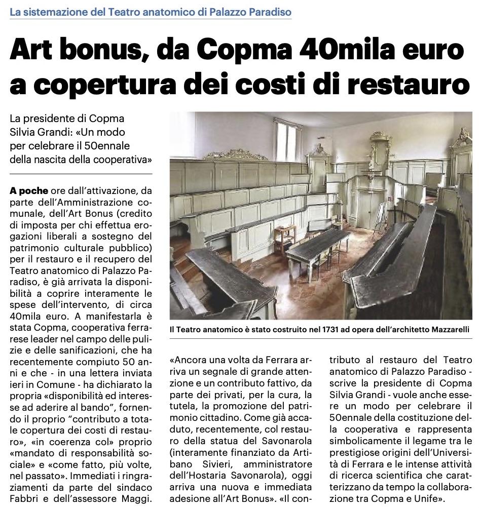 Art Bonus: da Copma 40mila euro per il restauro del Teatro anatomico