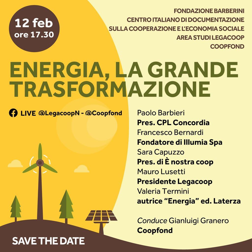 """Presentazione del volume """"Energia. La grande trasformazione"""", venerdì 12 febbraio"""