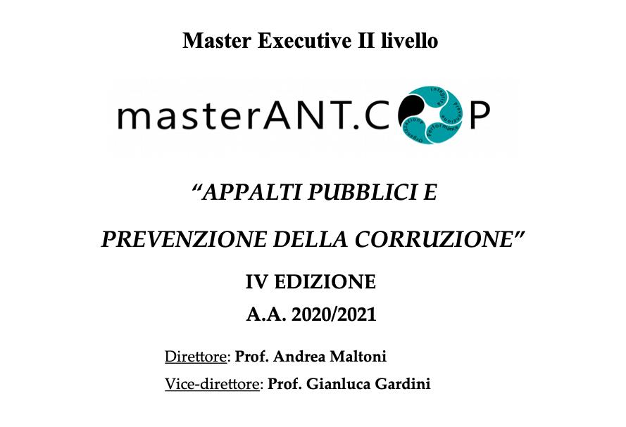 Master Ant.Cop: aperte fino al 8 marzo le iscrizione al percorso formativo Unife in Appalti pubblici e prevenzione della corruzione